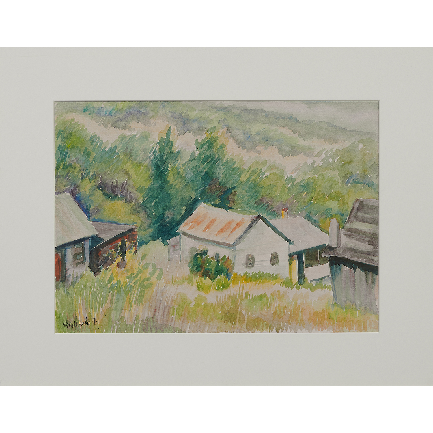 """Isac Friedlander, (Latvian, 1890-1968), Landscape with Three Houses, 1949, watercolor, 12 5/8"""" x 17 1/2"""""""